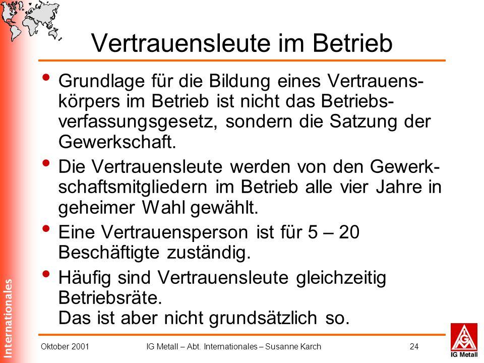 Internationales Oktober 2001IG Metall – Abt. Internationales – Susanne Karch24 Vertrauensleute im Betrieb Grundlage für die Bildung eines Vertrauens-