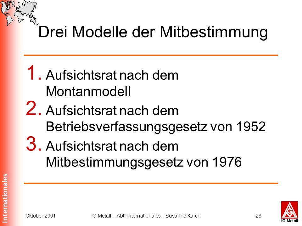 Internationales Oktober 2001IG Metall – Abt. Internationales – Susanne Karch28 Drei Modelle der Mitbestimmung 1. Aufsichtsrat nach dem Montanmodell 2.