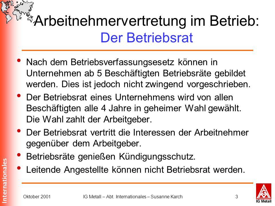 Internationales Oktober 2001IG Metall – Abt. Internationales – Susanne Karch3 Nach dem Betriebsverfassungsesetz können in Unternehmen ab 5 Beschäftigt