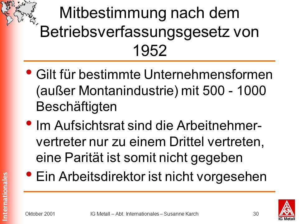 Internationales Oktober 2001IG Metall – Abt. Internationales – Susanne Karch30 Mitbestimmung nach dem Betriebsverfassungsgesetz von 1952 Gilt für best