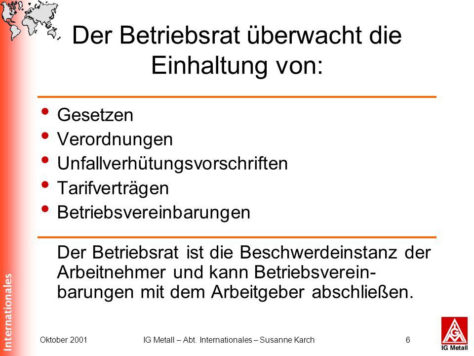 Internationales Oktober 2001IG Metall – Abt. Internationales – Susanne Karch6 Der Betriebsrat überwacht die Einhaltung von: Gesetzen Verordnungen Unfa