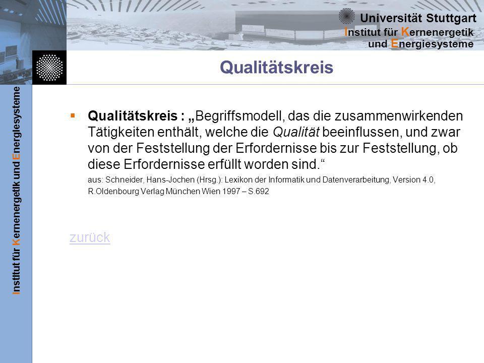 Universität Stuttgart Institut für Kernenergetik und Energiesysteme I nstitut für K ernenergetik und E nergiesysteme Qualitätskreis Qualitätskreis : Begriffsmodell, das die zusammenwirkenden Tätigkeiten enthält, welche die Qualität beeinflussen, und zwar von der Feststellung der Erfordernisse bis zur Feststellung, ob diese Erfordernisse erfüllt worden sind.