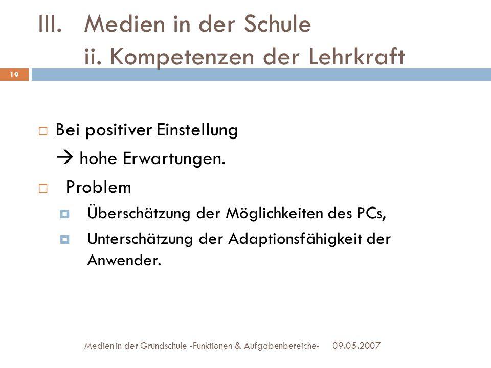 III.Medien in der Schule ii. Kompetenzen der Lehrkraft 09.05.2007Medien in der Grundschule -Funktionen & Aufgabenbereiche- Bei positiver Einstellung h