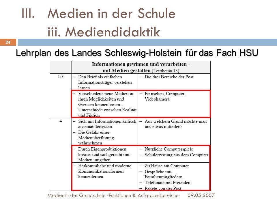09.05.2007Medien in der Grundschule -Funktionen & Aufgabenbereiche- III.Medien in der Schule iii. Mediendidaktik Lehrplan des Landes Schleswig-Holstei