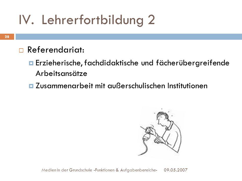 IV.Lehrerfortbildung 2 Referendariat: Erzieherische, fachdidaktische und fächerübergreifende Arbeitsansätze Zusammenarbeit mit außerschulischen Instit