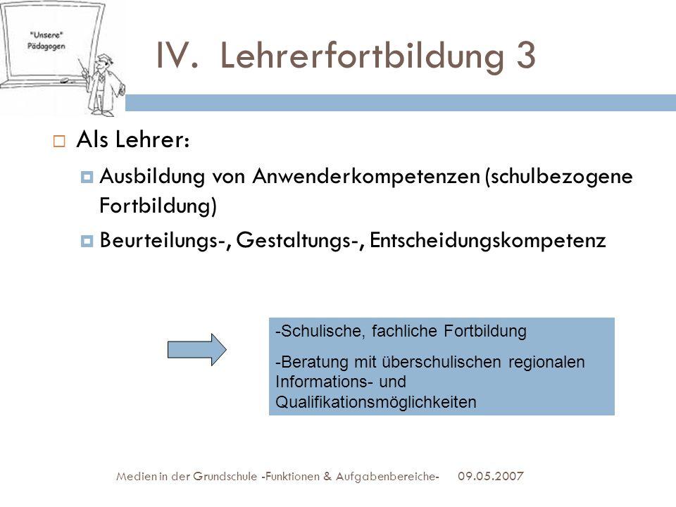 IV.Lehrerfortbildung 3 Als Lehrer: Ausbildung von Anwenderkompetenzen (schulbezogene Fortbildung) Beurteilungs-, Gestaltungs-, Entscheidungskompetenz