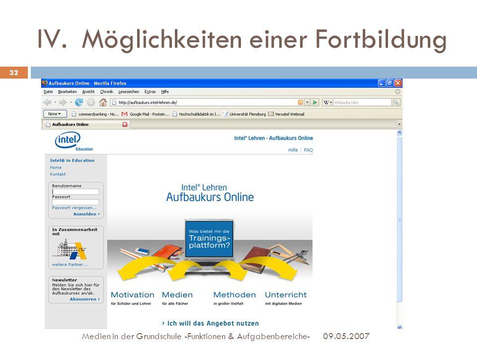 09.05.2007Medien in der Grundschule -Funktionen & Aufgabenbereiche- 32 IV.Möglichkeiten einer Fortbildung
