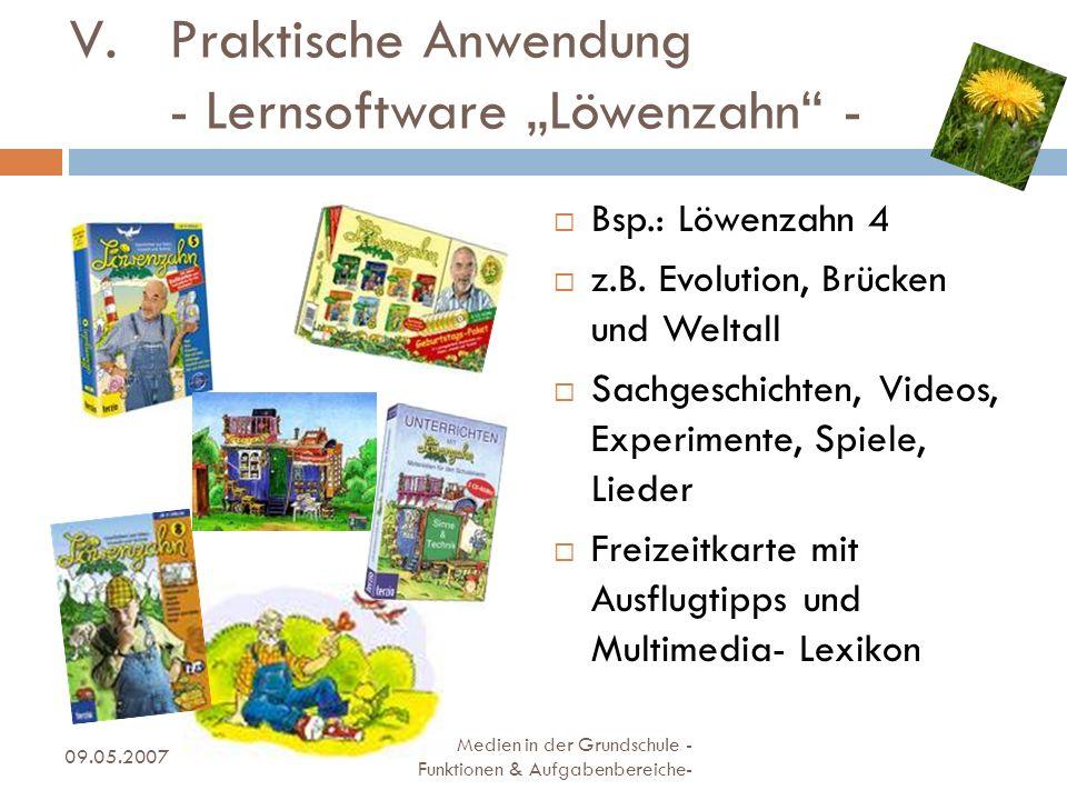 Bsp.: Löwenzahn 4 z.B. Evolution, Brücken und Weltall Sachgeschichten, Videos, Experimente, Spiele, Lieder Freizeitkarte mit Ausflugtipps und Multimed