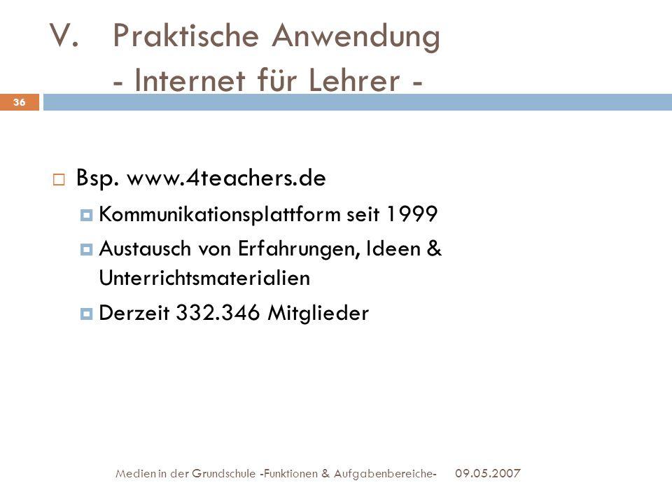 Bsp. www.4teachers.de Kommunikationsplattform seit 1999 Austausch von Erfahrungen, Ideen & Unterrichtsmaterialien Derzeit 332.346 Mitglieder 09.05.200
