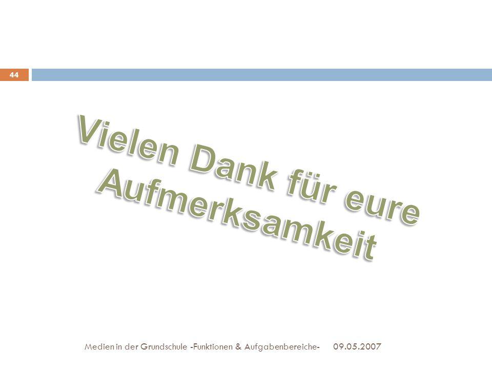 09.05.2007Medien in der Grundschule -Funktionen & Aufgabenbereiche- 44