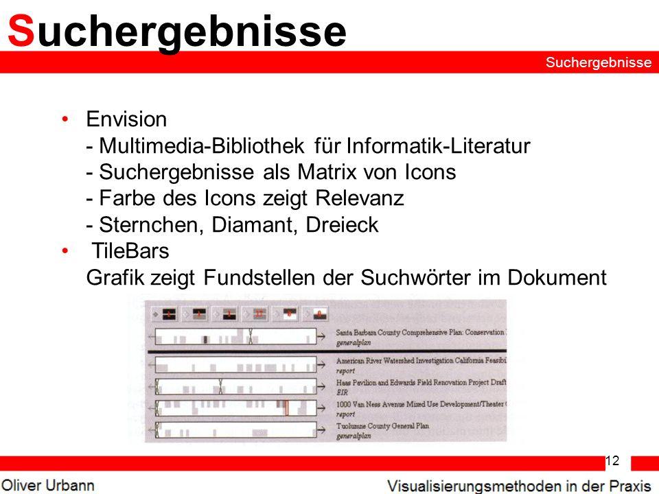 12 Suchergebnisse Envision - Multimedia-Bibliothek für Informatik-Literatur - Suchergebnisse als Matrix von Icons - Farbe des Icons zeigt Relevanz - S