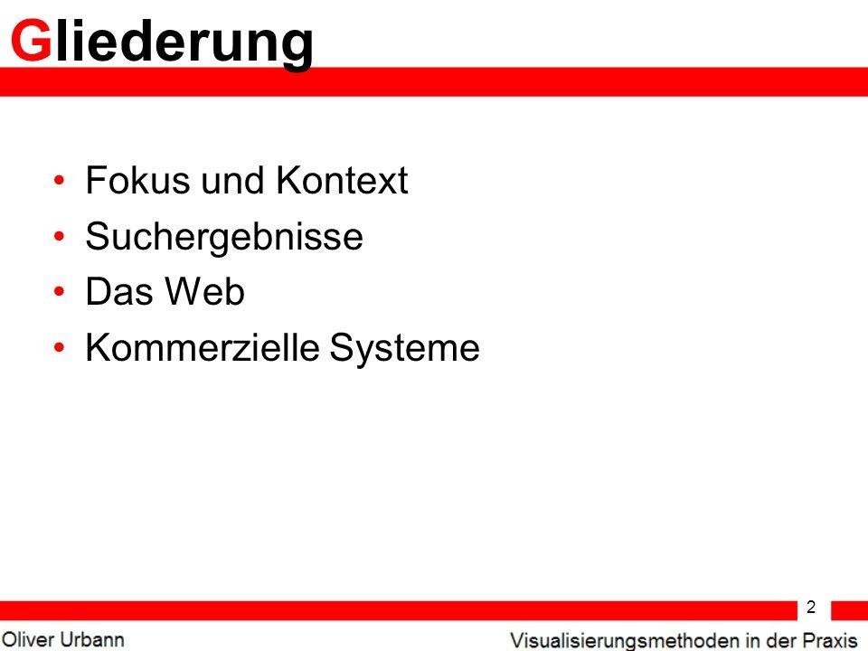 2 Fokus und Kontext Suchergebnisse Das Web Kommerzielle Systeme Gliederung