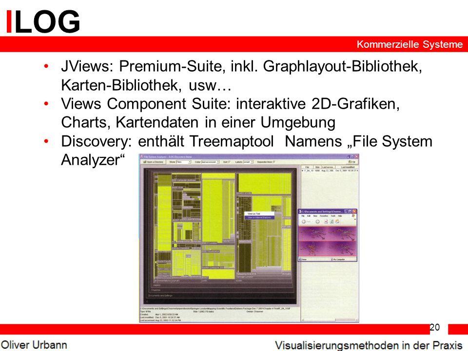 20 ILOG JViews: Premium-Suite, inkl. Graphlayout-Bibliothek, Karten-Bibliothek, usw… Views Component Suite: interaktive 2D-Grafiken, Charts, Kartendat