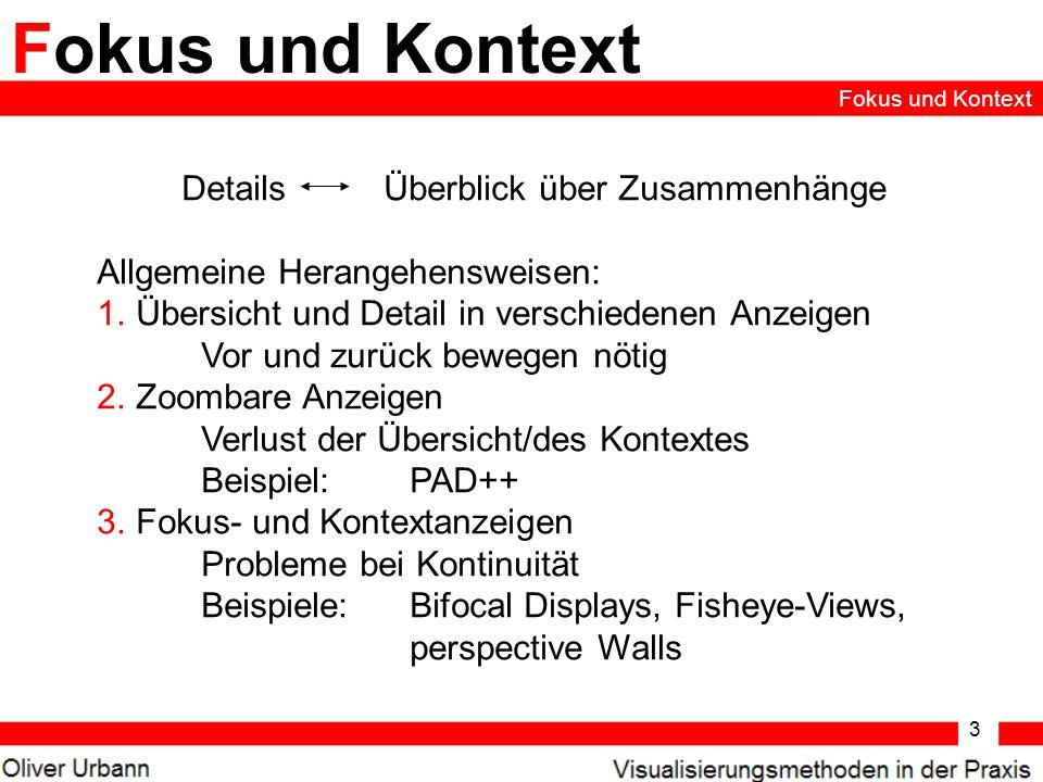 3 Fokus und Kontext Details Überblick über Zusammenhänge Allgemeine Herangehensweisen: 1.Übersicht und Detail in verschiedenen Anzeigen Vor und zurück