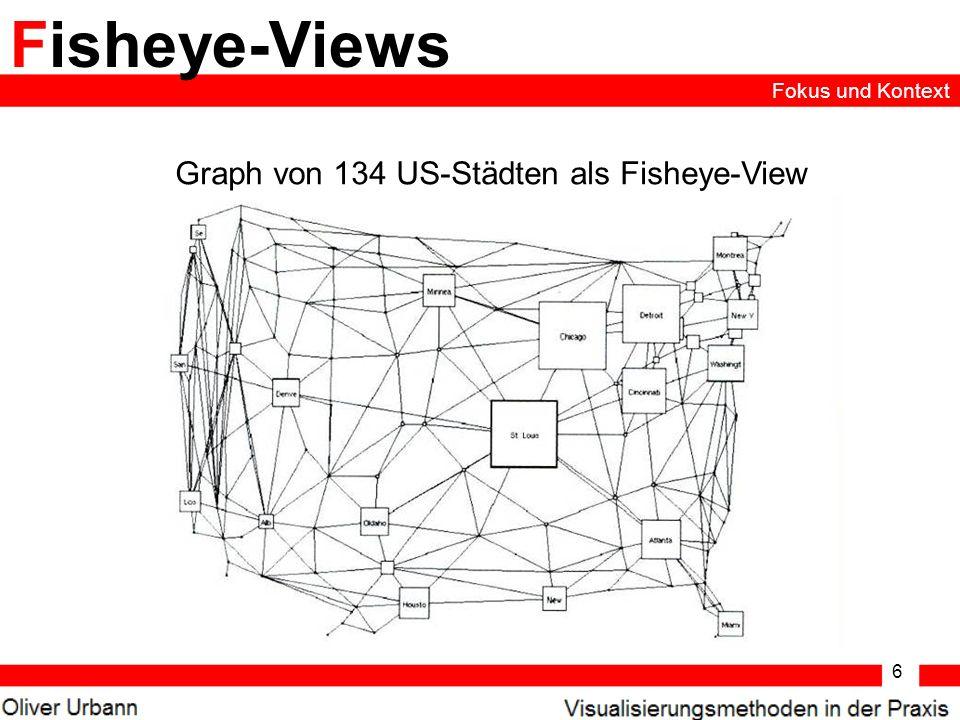 6 Fisheye-Views Graph von 134 US-Städten als Fisheye-View Fokus und Kontext