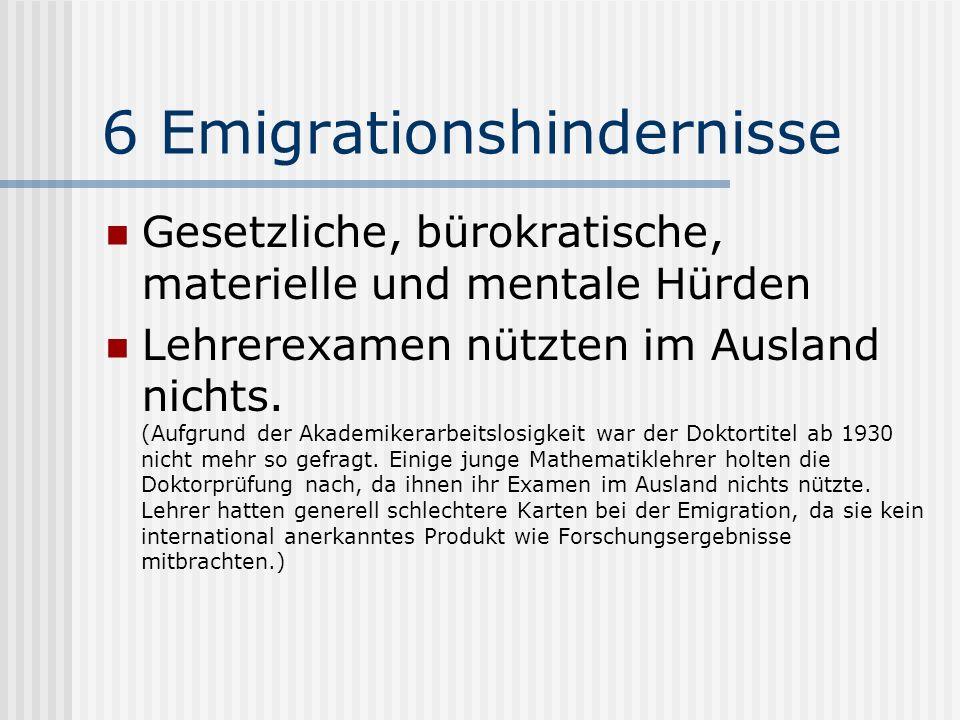 6 Emigrationshindernisse Gesetzliche, bürokratische, materielle und mentale Hürden Lehrerexamen nützten im Ausland nichts. (Aufgrund der Akademikerarb