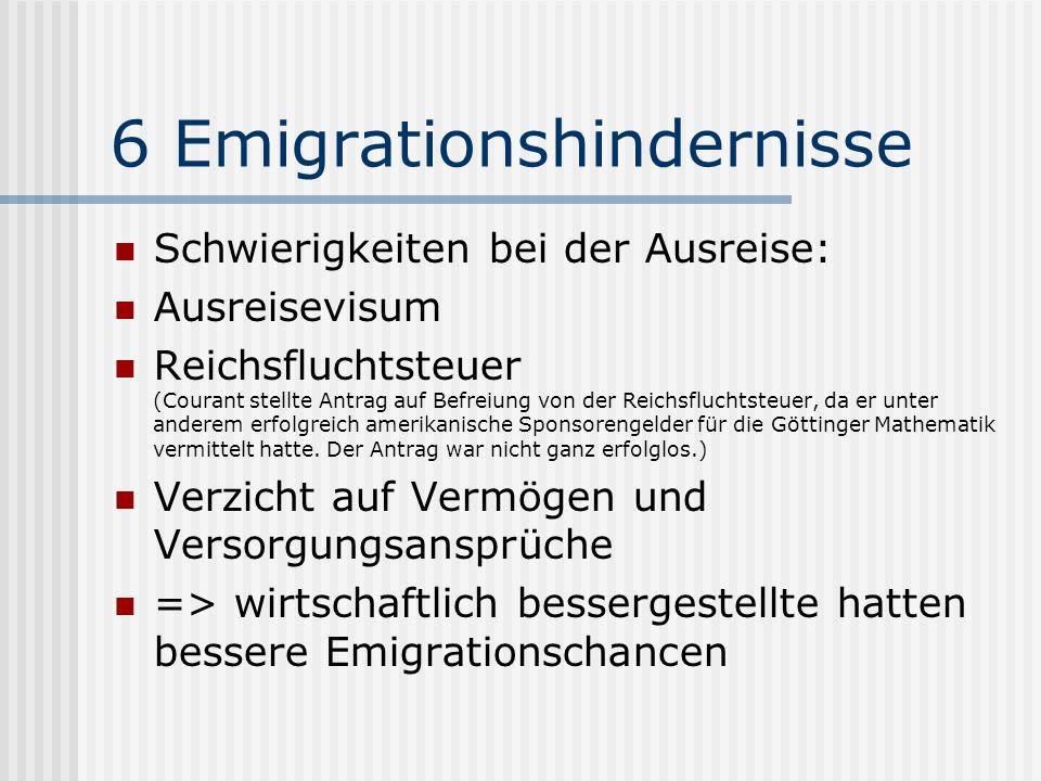 6 Emigrationshindernisse Schwierigkeiten bei der Ausreise: Ausreisevisum Reichsfluchtsteuer (Courant stellte Antrag auf Befreiung von der Reichsflucht
