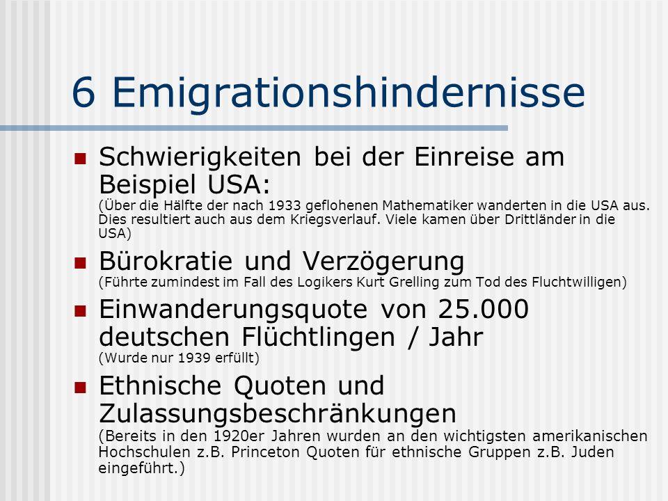 6 Emigrationshindernisse Schwierigkeiten bei der Einreise am Beispiel USA: (Über die Hälfte der nach 1933 geflohenen Mathematiker wanderten in die USA
