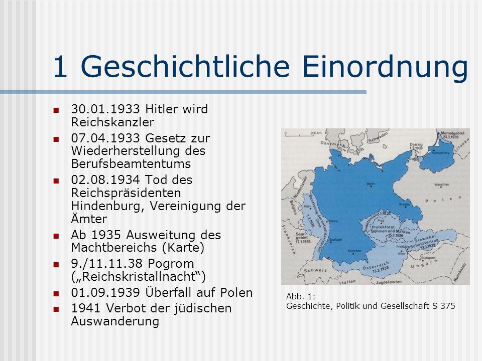 1 Geschichtliche Einordnung 30.01.1933 Hitler wird Reichskanzler 07.04.1933 Gesetz zur Wiederherstellung des Berufsbeamtentums 02.08.1934 Tod des Reic