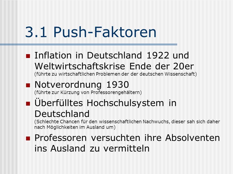 3.1 Push-Faktoren Inflation in Deutschland 1922 und Weltwirtschaftskrise Ende der 20er (führte zu wirtschaftlichen Problemen der der deutschen Wissens
