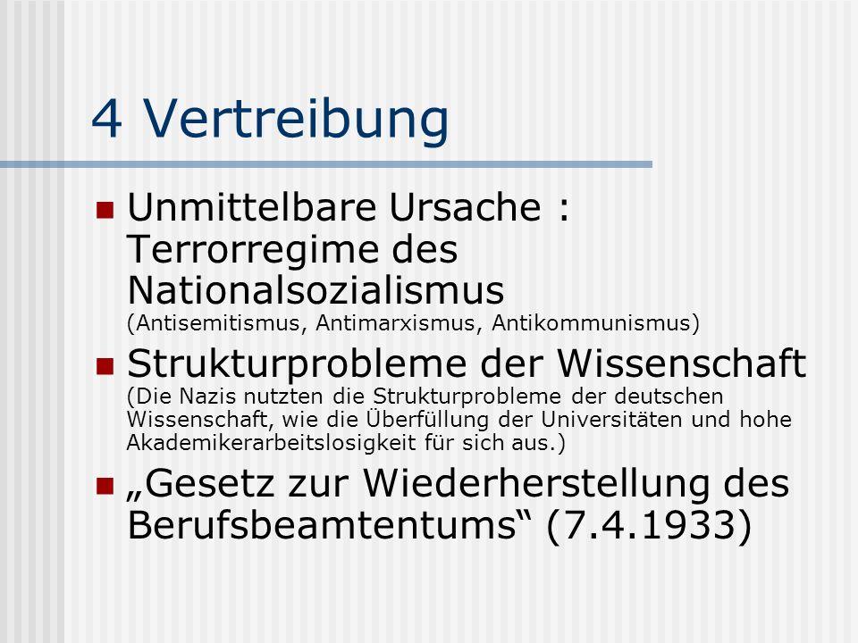 4 Vertreibung Unmittelbare Ursache : Terrorregime des Nationalsozialismus (Antisemitismus, Antimarxismus, Antikommunismus) Strukturprobleme der Wissen