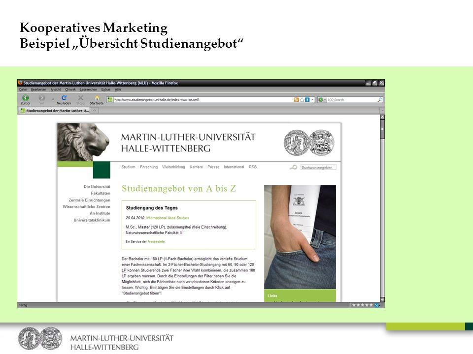 Kooperatives Marketing Beispiel Übersicht Studienangebot