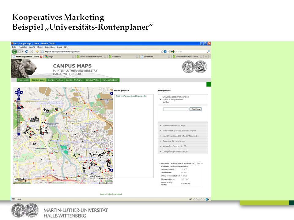 Kooperatives Marketing Beispiel Universitäts-Routenplaner