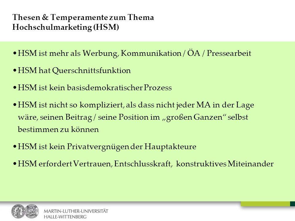 Thesen & Temperamente zum Thema Hochschulmarketing (HSM) HSM ist mehr als Werbung, Kommunikation / ÖA / Pressearbeit HSM hat Querschnittsfunktion HSM