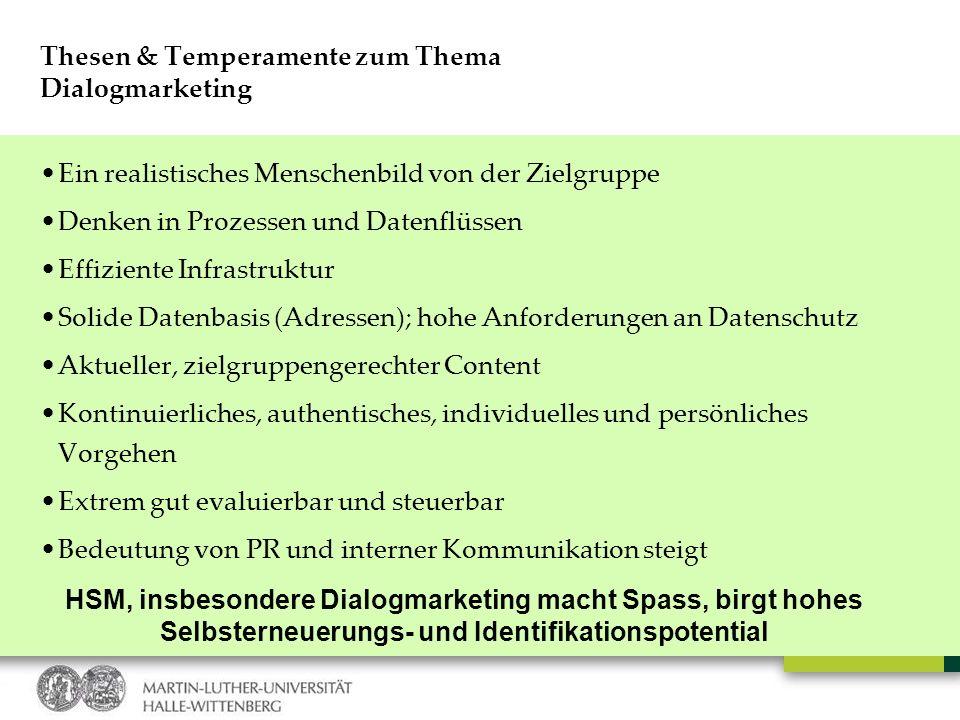 Thesen & Temperamente zum Thema Dialogmarketing Ein realistisches Menschenbild von der Zielgruppe Denken in Prozessen und Datenflüssen Effiziente Infr