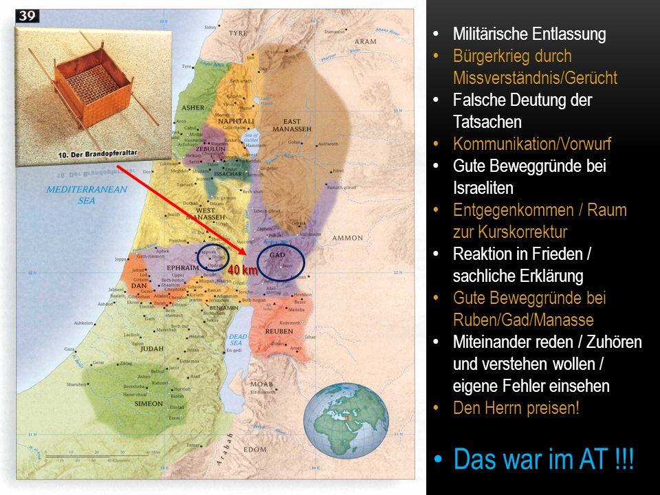 40 km Militärische Entlassung Bürgerkrieg durch Missverständnis/Gerücht Falsche Deutung der Tatsachen Kommunikation/Vorwurf Gute Beweggründe bei Israe