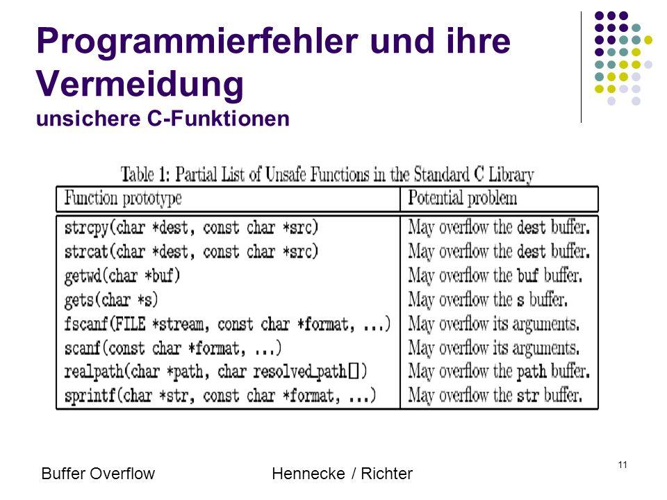 Buffer OverflowHennecke / Richter 11 Programmierfehler und ihre Vermeidung unsichere C-Funktionen