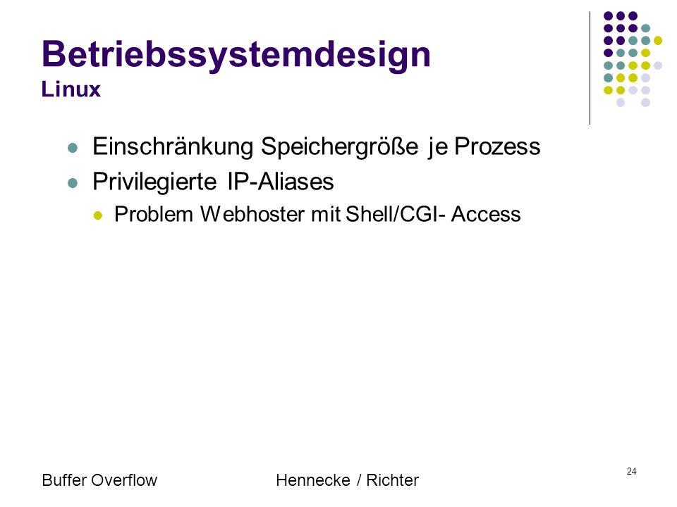 Buffer OverflowHennecke / Richter 24 Einschränkung Speichergröße je Prozess Privilegierte IP-Aliases Problem Webhoster mit Shell/CGI- Access Betriebss