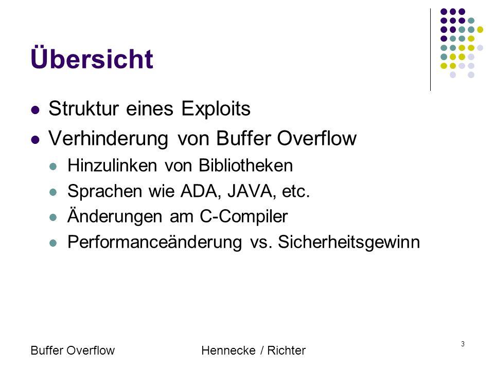 Buffer OverflowHennecke / Richter 3 Übersicht Struktur eines Exploits Verhinderung von Buffer Overflow Hinzulinken von Bibliotheken Sprachen wie ADA,