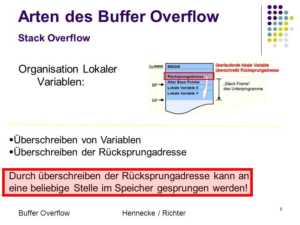 Buffer OverflowHennecke / Richter 8 Arten des Buffer Overflow Stack Overflow Organisation Lokaler Variablen: Überschreiben von Variablen Überschreiben