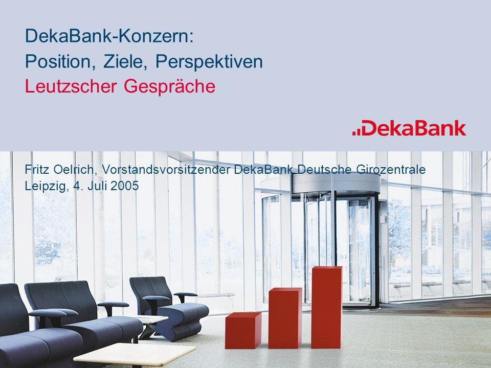60% 40% Position, Ziele, Perspektiven Leutzscher Gespräche DekaBank-Konzern: Fritz Oelrich, Vorstandsvorsitzender DekaBank Deutsche Girozentrale Leipzig, 4.