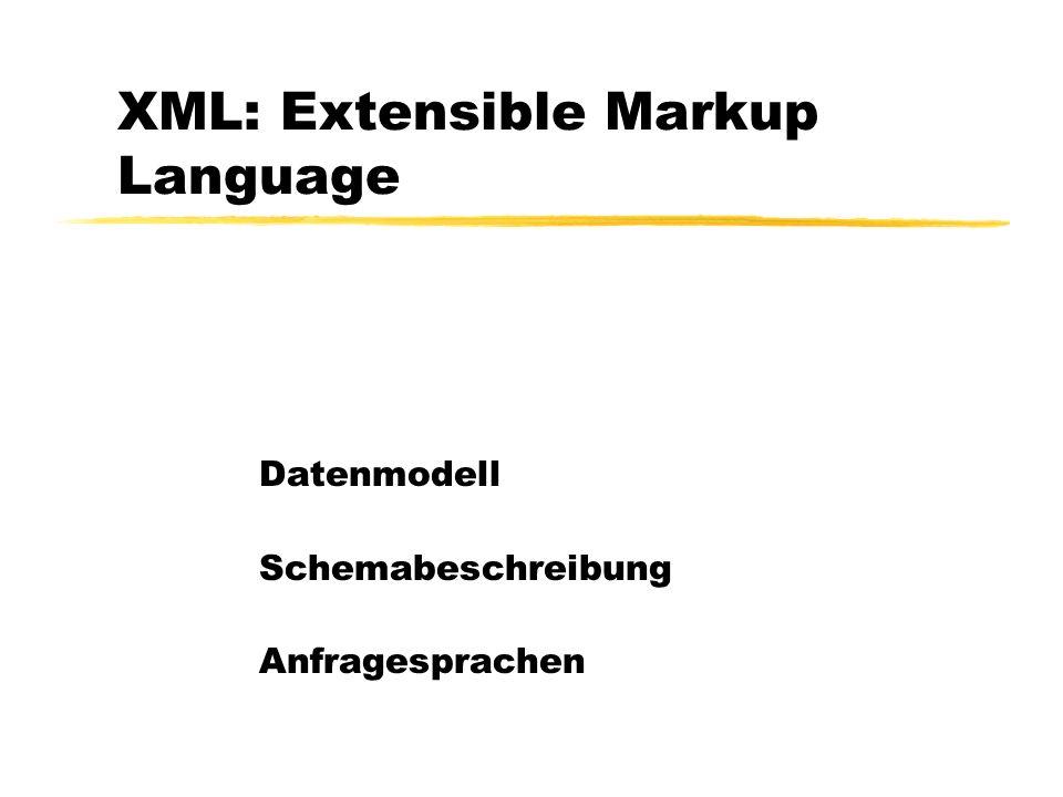 Dereferenzierung durch wert-basierten Join {for $p in doc( Uni.xml )//Vorlesung return {for $s in doc( Uni.xml )//Vorlesung where contains($p/@Voraussetzungen,$s/@VorlNr) return } }