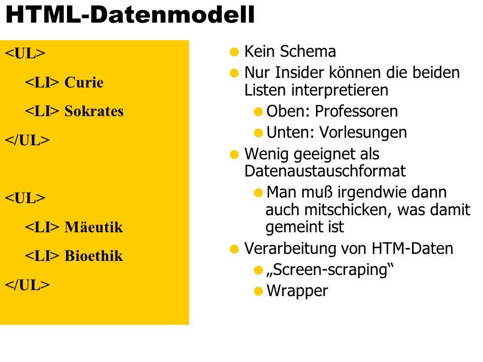 Relationales Datenmodell Schema ist vorgegeben und man kann nur schema-konforme Daten einfügen (Problem Ausnahmen null-Werte) Bedeutung der Daten wird durch das Schema definiert Kein Datenaustauschformat Professoren PersNrNameRangRaum 2125SokratesC4226 2126RusselC4232 2127KopernikusC3310 2133PopperC352 2134AugustinusC3309 2136CurieC436 2137KantC47 Vorlesungen VorlNrTitelSWSGelesen Von 5001Grundzüge42137 5041Ethik42125 5043Erkenntnistheorie32126 5049Mäeutik22125 4052Logik42125 5052Wissenschaftstheorie32126 5216Bioethik22126 5259Der Wiener Kreis22133 5022Glaube und Wissen22134 4630Die 3 Kritiken42137