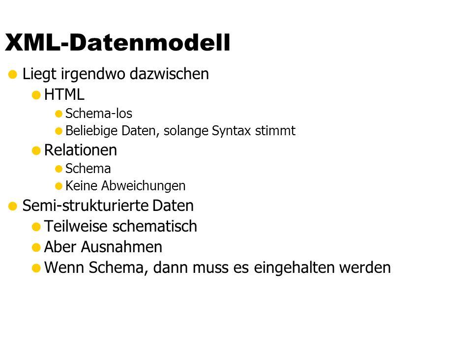 XML-Datenmodell Liegt irgendwo dazwischen HTML Schema-los Beliebige Daten, solange Syntax stimmt Relationen Schema Keine Abweichungen Semi-strukturier