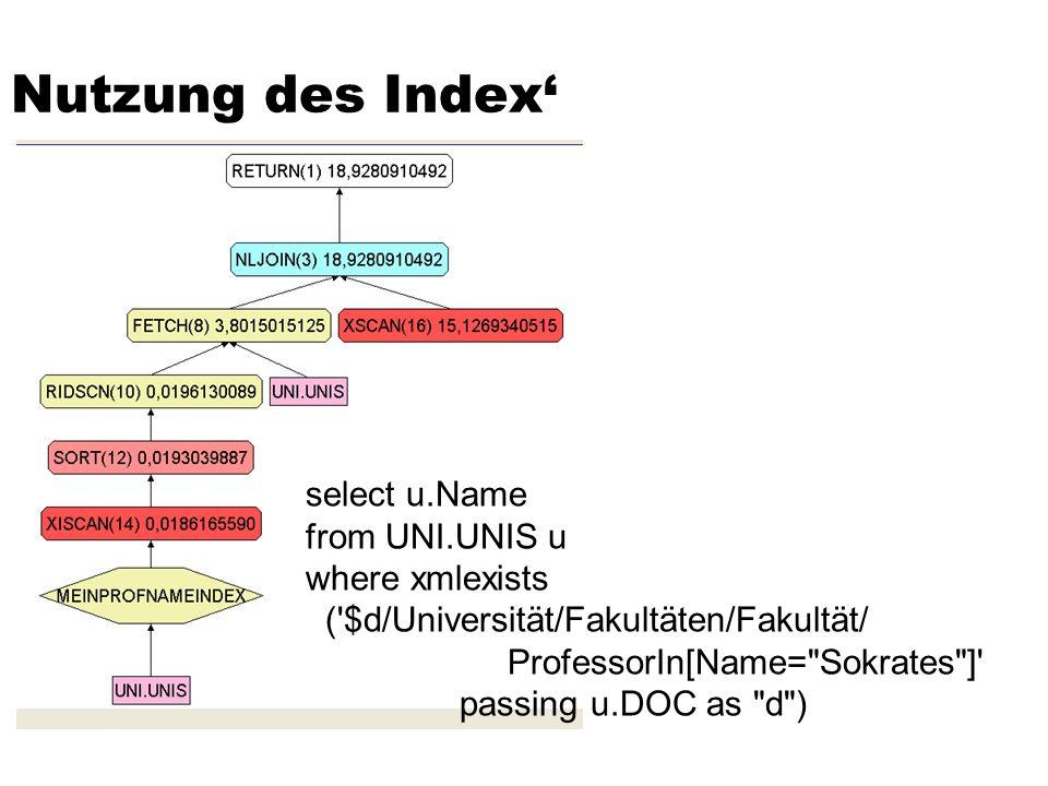 Nutzung des Index select u.Name from UNI.UNIS u where xmlexists ('$d/Universität/Fakultäten/Fakultät/ ProfessorIn[Name=
