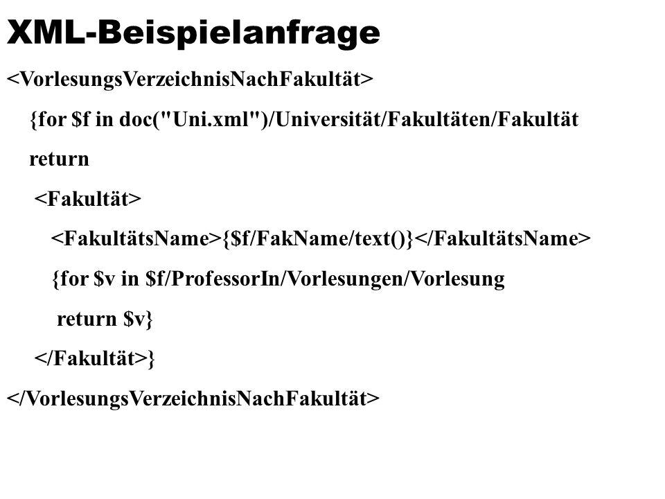 XML-Beispielanfrage {for $f in doc(