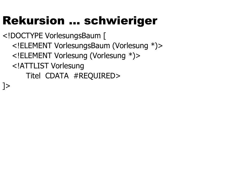 Rekursion … schwieriger <!DOCTYPE VorlesungsBaum [ <!ATTLIST Vorlesung Titel CDATA #REQUIRED> ]>