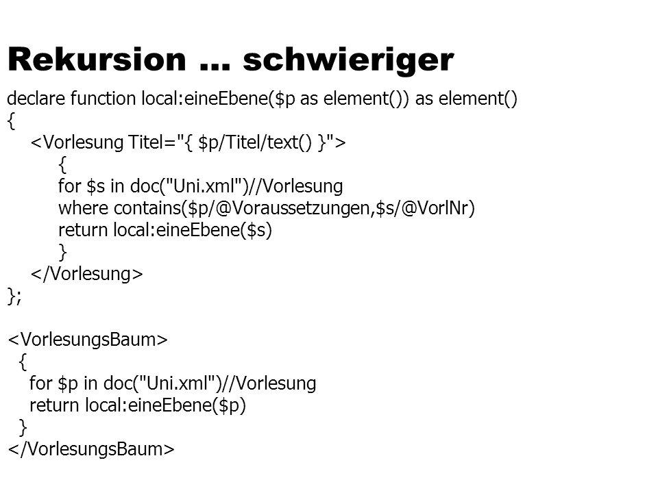 Rekursion … schwieriger declare function local:eineEbene($p as element()) as element() { { for $s in doc(