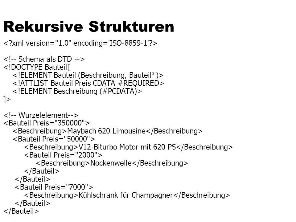 Rekursion im Prädikat /Buch[.//Nachname = Kemper ]/Titel select t.Wert from InfoTab b, InfoTab n, InfoTab t where b.Pfad = #Buch and t.Pfad = #Buch#Titel n.Pfad like %#Nachname and t.Wert = Datenbanksysteme and PARENT(t.ORDpfad) = b.ORDpfad and t.DOCid = b.DOCid and PREFIX(b.ORDpfad,n.ORDpfad) and b.DOCid = n.DOCid