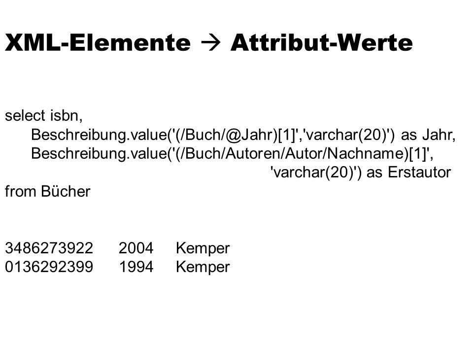 select isbn, Beschreibung.value('(/Buch/@Jahr)[1]','varchar(20)') as Jahr, Beschreibung.value('(/Buch/Autoren/Autor/Nachname)[1]', 'varchar(20)') as E