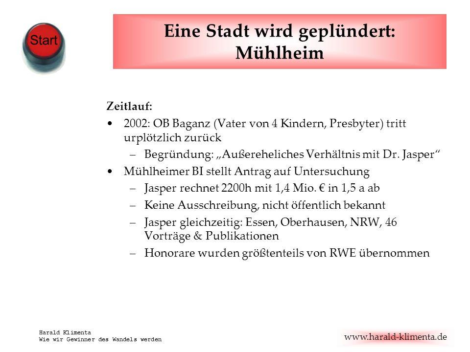 www.harald-klimenta.de Harald Klimenta Wie wir Gewinner des Wandels werden Eine Stadt wird geplündert: Mühlheim Zeitlauf: Offenbar: Interessenkonflikte.
