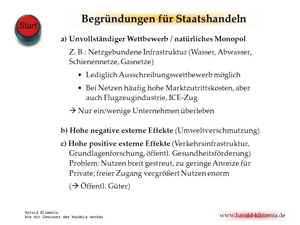 www.harald-klimenta.de Harald Klimenta Wie wir Gewinner des Wandels werden Begründungen für Staatshandeln a)Unvollständiger Wettbewerb / natürliches Monopol Z.
