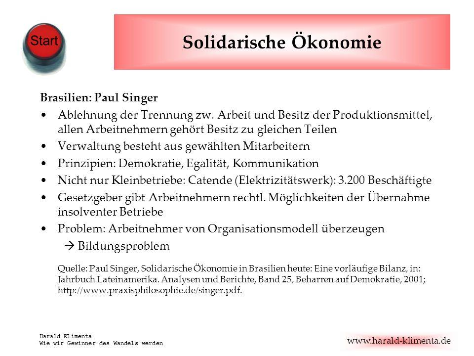 www.harald-klimenta.de Harald Klimenta Wie wir Gewinner des Wandels werden Solidarische Ökonomie Brasilien: Paul Singer Ablehnung der Trennung zw.
