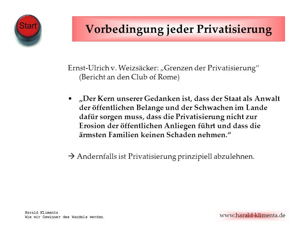 www.harald-klimenta.de Harald Klimenta Wie wir Gewinner des Wandels werden Vorbedingung jeder Privatisierung Ernst-Ulrich v.