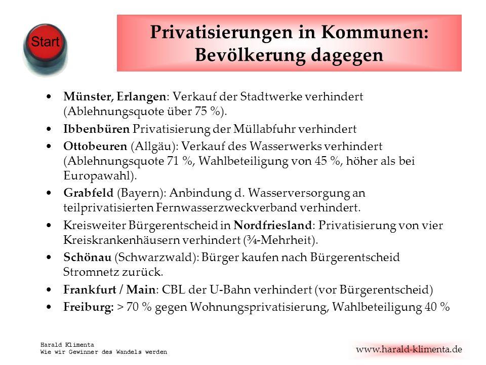 www.harald-klimenta.de Harald Klimenta Wie wir Gewinner des Wandels werden Privatisierungen in Kommunen: Bevölkerung dagegen Münster, Erlangen: Verkauf der Stadtwerke verhindert (Ablehnungsquote über 75 %).