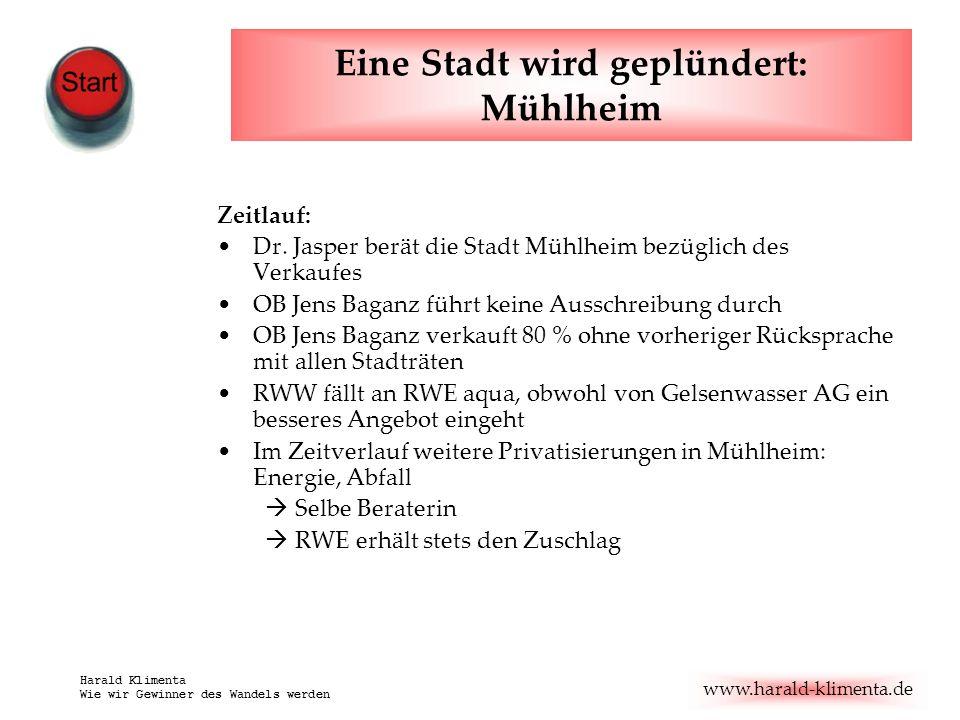www.harald-klimenta.de Harald Klimenta Wie wir Gewinner des Wandels werden Eine Stadt wird geplündert: Mühlheim Zeitlauf: Dr.